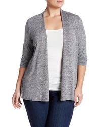 Philosophy | Gray Open Front Cinched Cardigan (plus Size) | Lyst