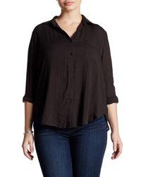 Lush | Black Woven Long Sleeve Button Front Blouse (plus Size) | Lyst