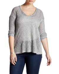 Lush | Gray Lightweight Hacci Sweater (plus Size) | Lyst