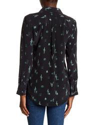 Equipment Black Slim Signature Cactus Print Silk Button Down Shirt
