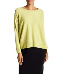 Eileen Fisher - Yellow Bateau Neck Hi-lo Knit Pullover - Lyst
