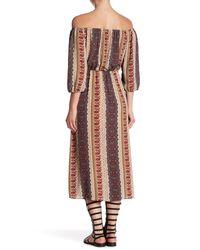Rokoko by Dazz - Multicolor Off-the-shoulder Printed Midi Dress - Lyst