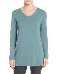 Eileen Fisher - Blue Textured Tencel Tunic Sweater - Lyst