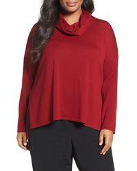 Eileen Fisher | Red Cowl Neck Ultrafine Merino Wool Sweater (plus Size) | Lyst