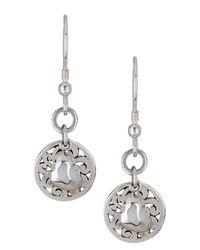 Lois Hill - Metallic Sterling Silver Cutout Drop & Heart Charm Earrings - Lyst