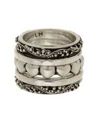 Lois Hill - Metallic Sterling Silver Heart Stackable Ring Set - Size 7 - Lyst