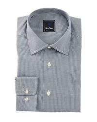 David Donahue - Black Long Sleeve Regular Fit Mini Houndstooth Dress Shirt for Men - Lyst