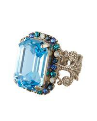 Sorrelli - Blue Petite Swarovski Crystal Emerald Cut Ring - Lyst