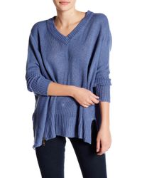 Romeo and Juliet Couture | Blue Asymmetrical V-neck Sweater | Lyst