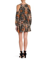 Romeo and Juliet Couture - Multicolor Lace Up Cold Shoulder Printed Dress - Lyst
