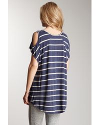 Romeo and Juliet Couture   Blue Open Shoulder Stripe Knit Top   Lyst