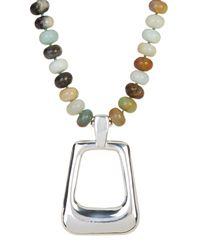 Simon Sebbag | Metallic Amazonite Beaded Rectangle Pendant Necklace | Lyst