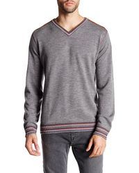 Robert Graham | Gray V-neck Print Long Sleeve Classic Fit Wool Sweater for Men | Lyst