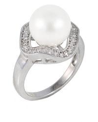 Splendid - White Freshwater 10-10.5mm Pearl & Cz Detail Ring - Lyst
