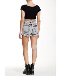 American Apparel - Black Denim High-waist Cuff Short - Lyst