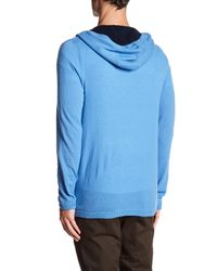 Autumn Cashmere - Blue Contrast Zip Up Cashmere Hoodie for Men - Lyst