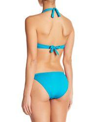 Letarte - Blue Solid Halter Front Bead Bikini Set - Lyst