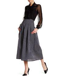 Oscar de la Renta | Black Polka Dot Print Pleated Skirt | Lyst
