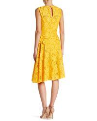 Oscar de la Renta - Yellow Sleeveless Lace Back Keyhole Dress - Lyst