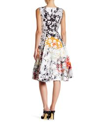 Oscar de la Renta | White Sleeveless Floral Print Dress | Lyst