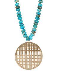 Nest - Blue Turquoise Jasper Bead & Cutout Pendant Necklace - Lyst