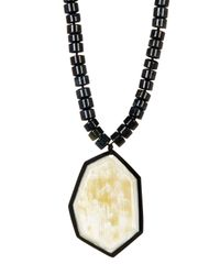 Nest - Metallic Tigers Eye Bead & African Water Buffalo Horn Pendant Necklace - Lyst