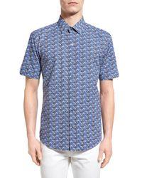 Zachary Prell   Blue 'furniss' Trim Fit Print Sport Shirt for Men   Lyst