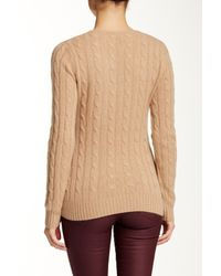 Sofia Cashmere - Natural Cable V-neck Cashmere Sweater - Lyst