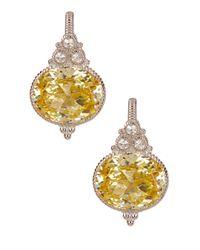 Judith Ripka | Metallic Sterling Silver La Petite Oval Canary Crystal Earrings | Lyst