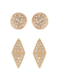 Melinda Maria | White Hunter Pave Cz Stud Earrings Set | Lyst