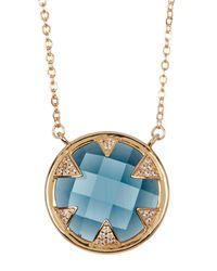 Melinda Maria - Tessa Blue Topaz & Cz Pendant Necklace Set - Lyst