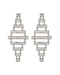 Steve Madden - Metallic Diamond-shaped Ribbed Bar Earrings - Lyst