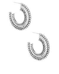 Steve Madden   Metallic Rhinestone Half Hoop Earrings   Lyst