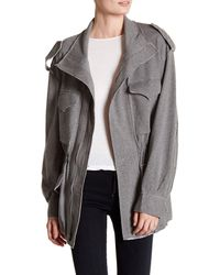 Norma Kamali | Gray Funnel Neck Cargo Jacket | Lyst
