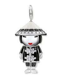 Thomas Sabo - Black Sterling Silver Cz Embellished Doll Pendant - Lyst