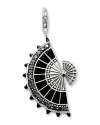 Thomas Sabo | Black Sterling Silver Cz Embellished Fan Pendant | Lyst