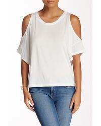 Lush - White Cold Shoulder Knit Tee - Lyst