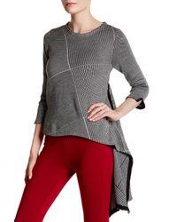 Gracia | Gray Herringbone Knit Asymmetrical Sweater | Lyst