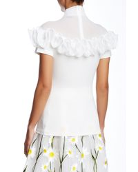 Gracia - White Ruffle Trimmed Short Sleeve Tee - Lyst