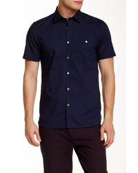 Ted Baker | Blue Short Sleeve Ghost Print Slim Fit Shirt for Men | Lyst