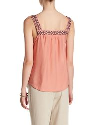 Blu Pepper | Pink Sleeveless Embroidered Woven Tank | Lyst