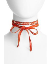 Chan Luu - Red Chiffon Tie Necklace - Lyst