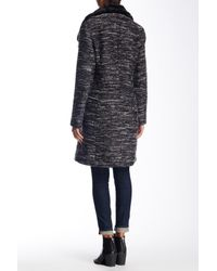 SOIA & KYO | Black Faux Fur Collar Wool Blend Coat | Lyst