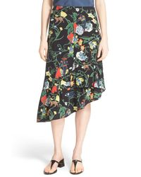 Tibi | Black Print Asymmetrical Ruffle Silk Skirt | Lyst