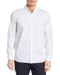 Ted Baker | White Modern Trim Fit Belgym Filcoupe Print Long Sleeve Sport Shirt for Men | Lyst