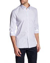 Ted Baker | White Long Sleeve Striped Dobby Shirt for Men | Lyst