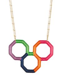 Trina Turk | Metallic Wrapped Geo Pendant Necklace | Lyst