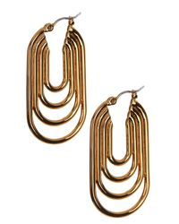 Trina Turk | Metallic Oval Hoop Inner Rings Earrings | Lyst