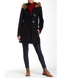 Tommy Hilfiger | Black Faux-fur-trim Contrast-hood Coat | Lyst
