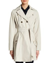 Laundry by Shelli Segal - Natural Hooded Flared Trench Coat - Lyst